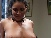 Busty brunette services a dinner party in every way imaginable!