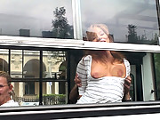 European girl gets fucked on a public bus while everyone watches!