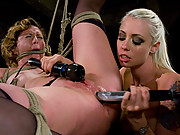 Crazy electrical play and lesbian BDSM; Tina is trapped in a cage, shocked, and fucked