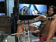 Voluptuous black amateur girl machine fucked fast and hard