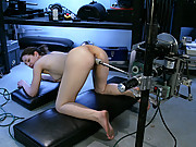 Blonde all natural girl fucks robot cock deep and fast.