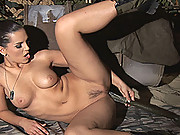 Hot young brunette Eve Angel masturbating at military camp