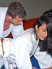 Super hot ass black belt ninja instructor babe gets nailed hard on the gym matt in these hot reality fucking cumfaced pics