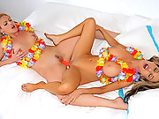 2 amazing hot fucking sexy babes pussy fuck eachother in this hot double dildo fucking hawaiin style lesbo 4 fuck vids