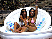 4 hot movies of mega hot bubble but brown bikini babes share a hard wet cock by the pool in these amazing hard fucking cumfaced vids