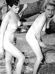 Vintage large boobs outside posing pictures