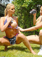 Watch hot porn star alah rae and her sexy girlfriend get wet and horny washing their car in the park in this hot bubble fucking cumfaced 3some pics