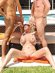 Unreal dude flys in from a skydive and lands in a pool party then hot big tits milf gets banged and creamed in this hot 3some double dong fucking pic update