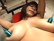 Ren Mizumor lovely Asian doll tied to a machine for masturbation by toys
