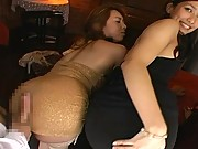 Megu Hayasaka and lovely lesbo friends show fine firm asses off