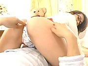 Megu Hayasaka Sexy Asian model enjoys some anal play with her date