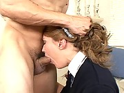 Elli Foxx gets her young mouth fucked by ridgid cock