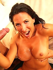 Lesley Zen sucking cock on a boat and fucking at home