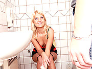 Horny blonde chick banged hard on the toilet