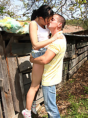 Hot teenage girl fucked outside in the garden