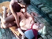 Retro and sexy blonde being banged outside