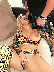 Gorgous cheetah print stockings hollie gets her big tits and hot ass body fucked hard against the stairs