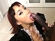 Perky Asian slut Katsuni gets nailed in the back door by a throbbing black dick