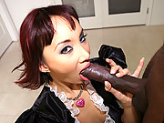 Asian maid Katsuni gets fucked hard in the ass by a thick black rod