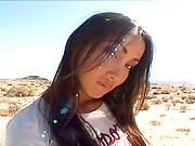 Katsuni licks balls in desert after a Photo Shoot with her Cameraman