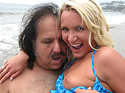Teen Addison gets fucked by Ron Jeremy at the beach!