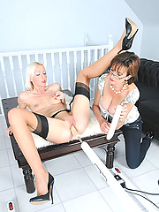 Toy and machine fucking milf duo