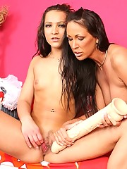 Hotties on two strap on dildo