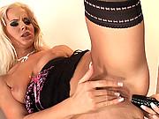 Horny blond slut Cindy Dollar masturbating with vibrator