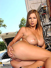 Busty Carol showing her big firm tits & pussy in garage