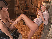 Blue Angel & C.J. teasing each others hot legs in the barn