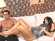 Sexy brunette Kendra gives an awesome footjob to Renato