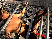 Natalia Forrest gets bound in cage & gets fucked by machine