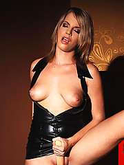 Blonde babe Lara in latex masturbating with a doubledong