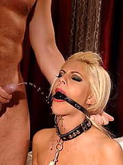 Blond young babe Valentina gets bound & forced to piss