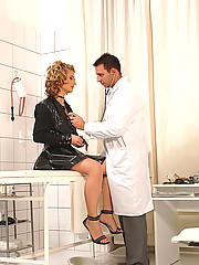 Hot babe Kimberly gets her ass and pussy fucked at the doc