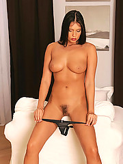 Naughty brunette Veronica da Souza trying new toys in bed