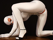flexible Susi in white fullbody spandex