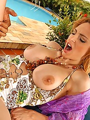Amazing big round titty brazilian redhead gets rammed up her ass after getting picked up at the tiki bar in these hot big pics