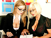 Two slutty office chicks going at it hardcore