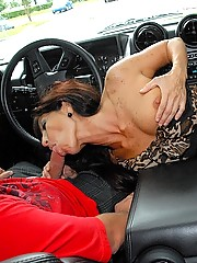 Watch hot mini skirt milf get picked up while her husband is shopping in banged hard in these hot bending over backwards cock sucking and fucking pics