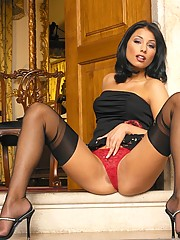 Anetta Keys in sexy black stockings