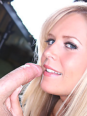 gorgeous blonde amateur spreads pussy sucks cock and swallow...