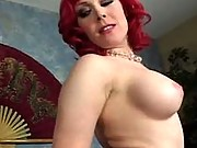 Busty mom undresses and sucks cock
