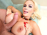 Diamond Foxx gets her freaks of boobs covered in cum!