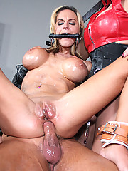 Busty blonde whore gets blasted with huge loads of jizz!