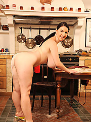 Busty hot blooded slut Katerina Hart showing tits in kitchen