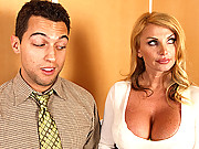Taylor Wayne flashes her titties and gets a hard cock between them