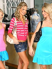 Check out 3 super hot little lesbian babes finger fuck hard after trying on some clothes at a shop in these super sexy hot ass lesbo licking pics