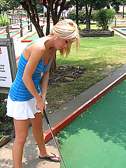 Playing mini golf naked