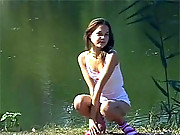 Masturbating young chick alone in the forest